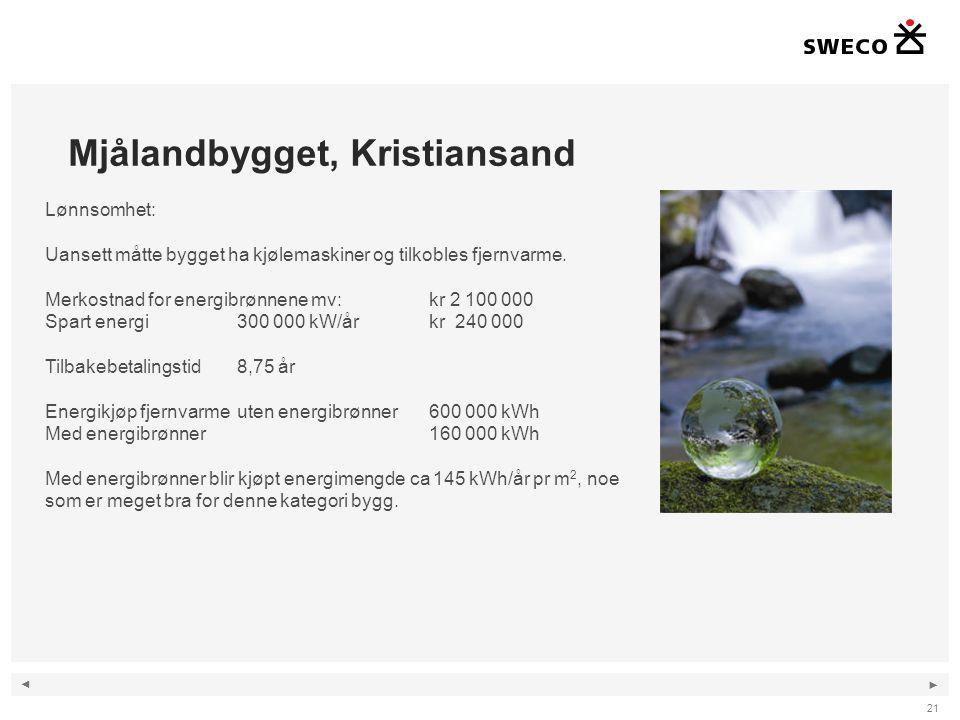 ◄ ► Mjålandbygget, Kristiansand 21 Lønnsomhet: Uansett måtte bygget ha kjølemaskiner og tilkobles fjernvarme. Merkostnad for energibrønnene mv: kr 2 1