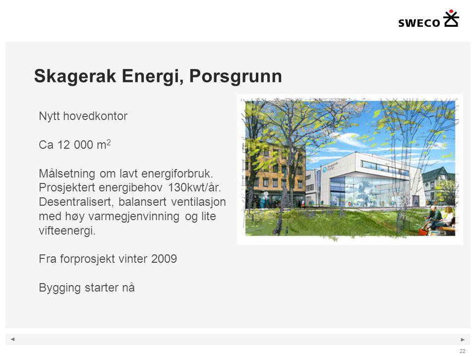 ◄ ► Skagerak Energi, Porsgrunn 22 Nytt hovedkontor Ca 12 000 m 2 Målsetning om lavt energiforbruk. Prosjektert energibehov 130kwt/år. Desentralisert,