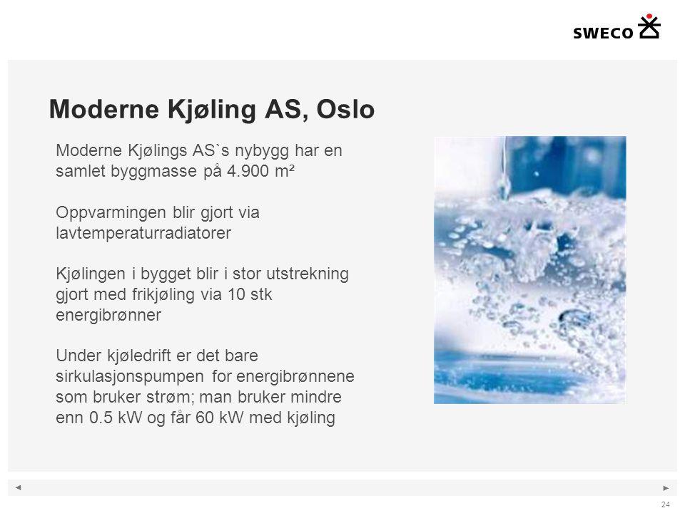 ◄ ► Moderne Kjøling AS, Oslo 24 Moderne Kjølings AS`s nybygg har en samlet byggmasse på 4.900 m² Oppvarmingen blir gjort via lavtemperaturradiatorer K