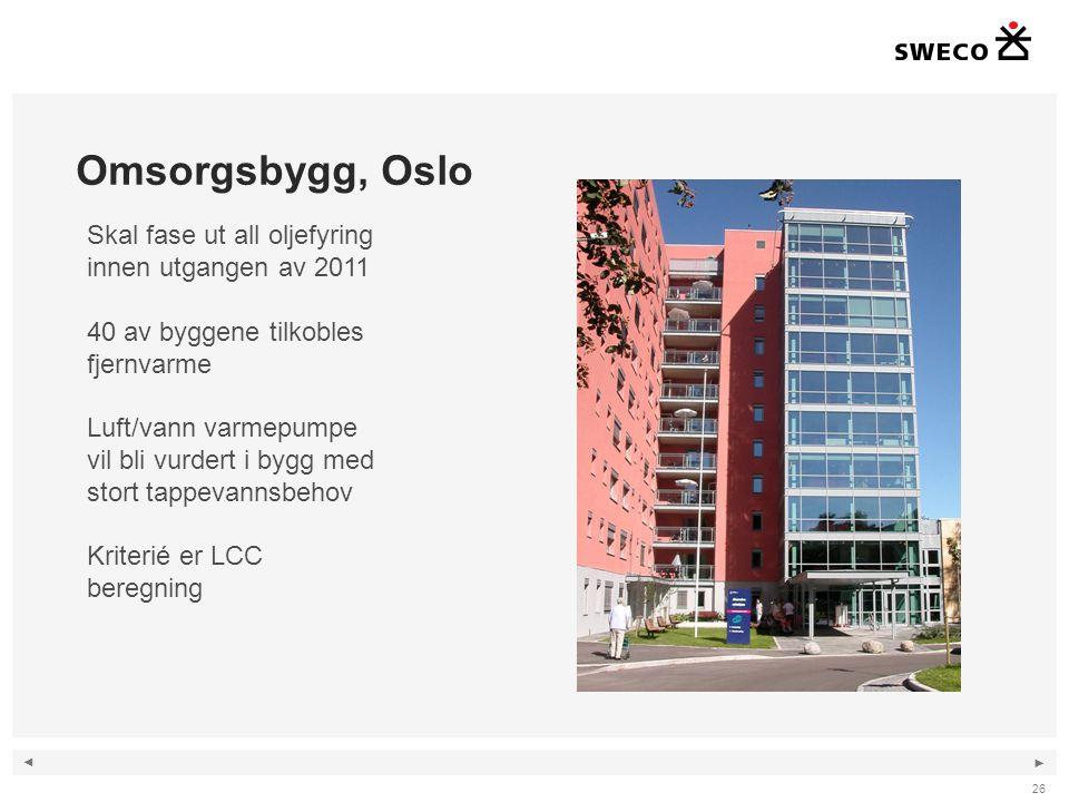 ◄ ► Omsorgsbygg, Oslo 26 Skal fase ut all oljefyring innen utgangen av 2011 40 av byggene tilkobles fjernvarme Luft/vann varmepumpe vil bli vurdert i