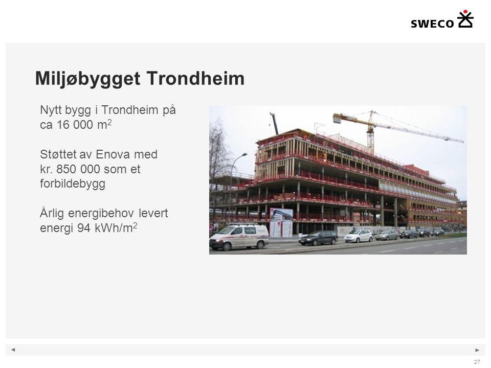 ◄ ► Miljøbygget Trondheim 27 Nytt bygg i Trondheim på ca 16 000 m 2 Støttet av Enova med kr. 850 000 som et forbildebygg Årlig energibehov levert ener