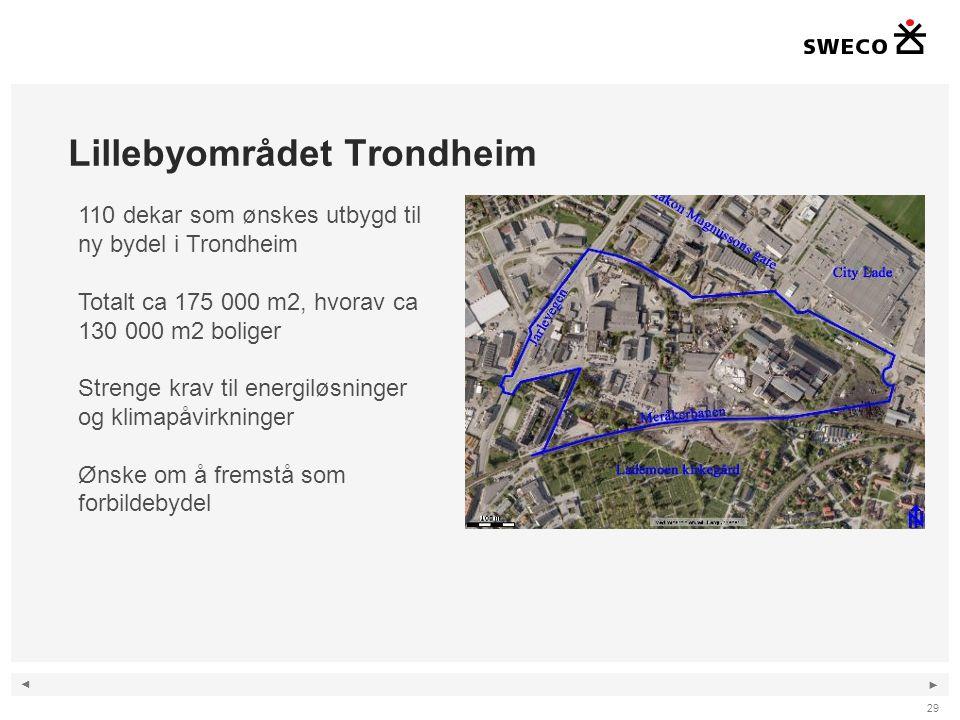◄ ► Lillebyområdet Trondheim 29 110 dekar som ønskes utbygd til ny bydel i Trondheim Totalt ca 175 000 m2, hvorav ca 130 000 m2 boliger Strenge krav til energiløsninger og klimapåvirkninger Ønske om å fremstå som forbildebydel