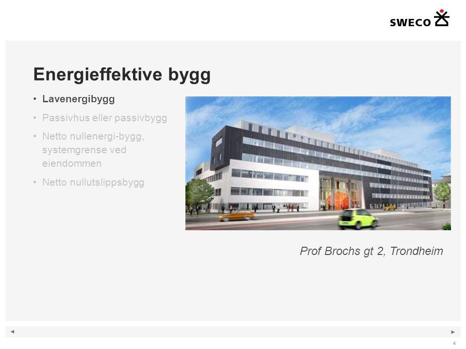◄ ► 4 Energieffektive bygg •Lavenergibygg •Passivhus eller passivbygg •Netto nullenergi-bygg, systemgrense ved eiendommen •Netto nullutslippsbygg Prof Brochs gt 2, Trondheim