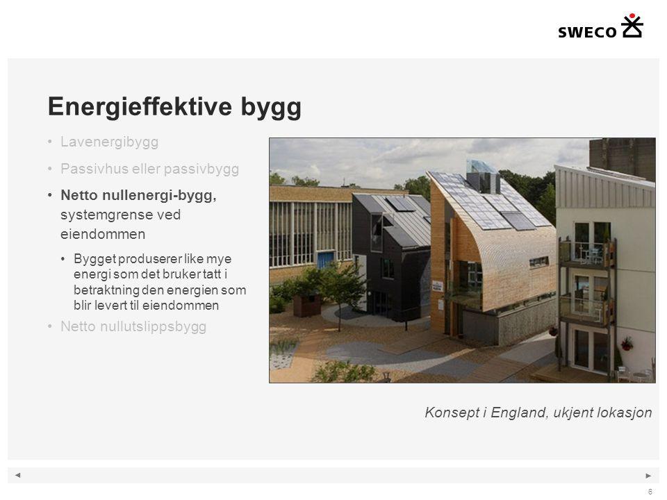 ◄ ► 6 Energieffektive bygg •Lavenergibygg •Passivhus eller passivbygg •Netto nullenergi-bygg, systemgrense ved eiendommen •Bygget produserer like mye
