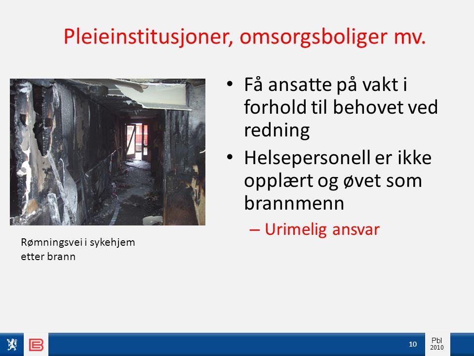 Info pbl 2010 Pbl 2010 Pleieinstitusjoner, omsorgsboliger mv. • Få ansatte på vakt i forhold til behovet ved redning • Helsepersonell er ikke opplært