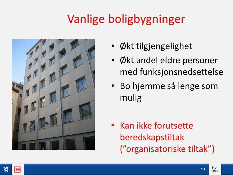 Info pbl 2010 Pbl 2010 Vanlige boligbygninger • Økt tilgjengelighet • Økt andel eldre personer med funksjonsnedsettelse • Bo hjemme så lenge som mulig