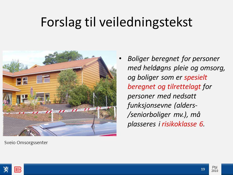 Info pbl 2010 Pbl 2010 Forslag til veiledningstekst • Boliger beregnet for personer med heldøgns pleie og omsorg, og boliger som er spesielt beregnet