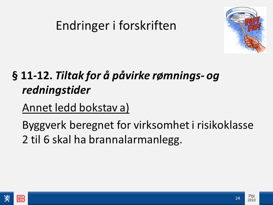 Info pbl 2010 Pbl 2010 Endringer i forskriften § 11-12. Tiltak for å påvirke rømnings- og redningstider Annet ledd bokstav a) Byggverk beregnet for vi