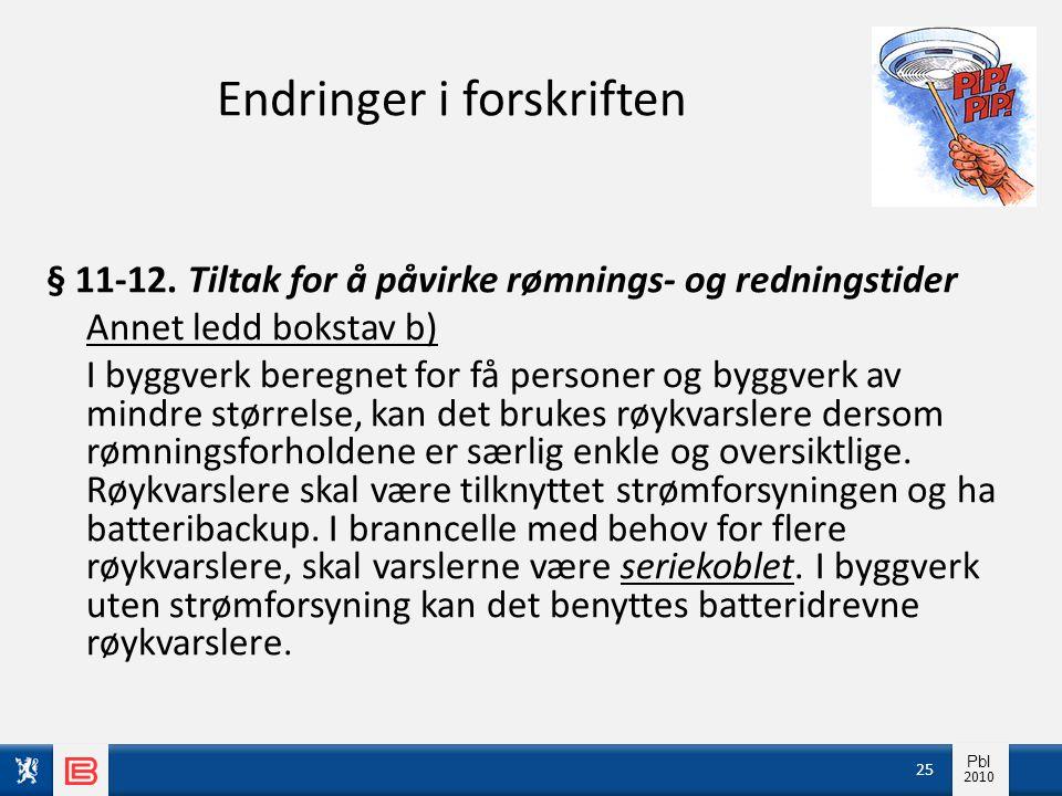 Info pbl 2010 Pbl 2010 Endringer i forskriften § 11-12. Tiltak for å påvirke rømnings- og redningstider Annet ledd bokstav b) I byggverk beregnet for
