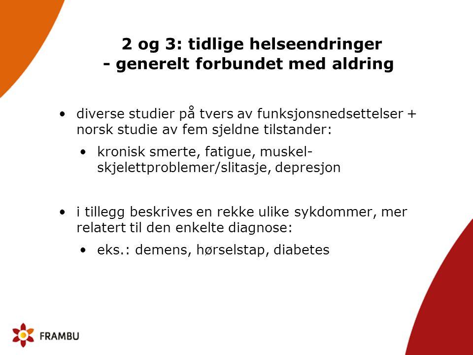 2 og 3: tidlige helseendringer - generelt forbundet med aldring •diverse studier på tvers av funksjonsnedsettelser + norsk studie av fem sjeldne tilstander: •kronisk smerte, fatigue, muskel- skjelettproblemer/slitasje, depresjon •i tillegg beskrives en rekke ulike sykdommer, mer relatert til den enkelte diagnose: •eks.: demens, hørselstap, diabetes