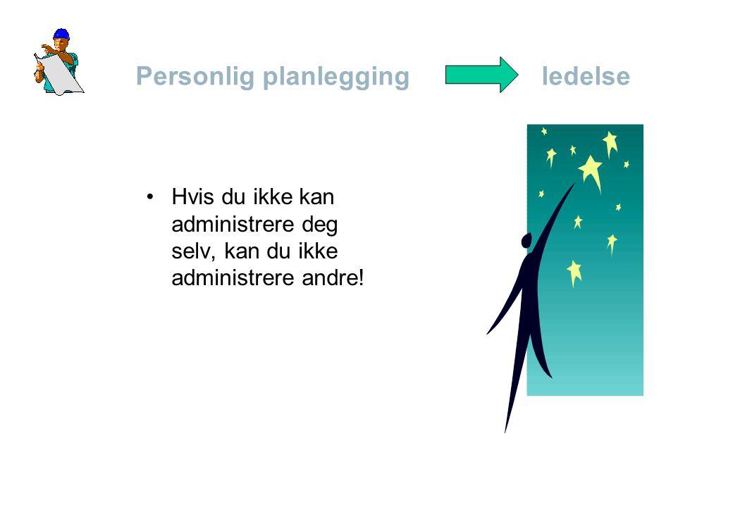 Personlig planlegging ledelse •Hvis du ikke kan administrere deg selv, kan du ikke administrere andre!
