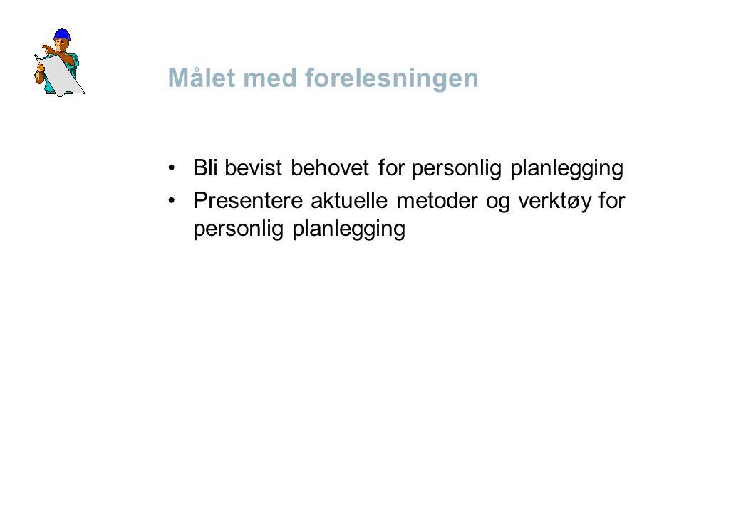 Målet med forelesningen •Bli bevist behovet for personlig planlegging •Presentere aktuelle metoder og verktøy for personlig planlegging