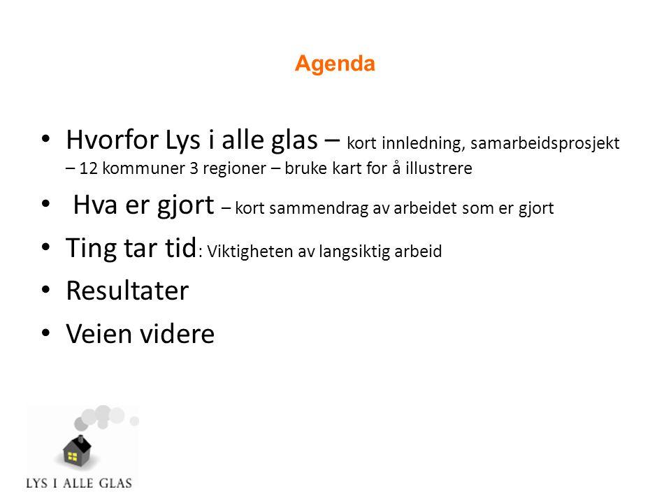 Agenda • Hvorfor Lys i alle glas – kort innledning, samarbeidsprosjekt – 12 kommuner 3 regioner – bruke kart for å illustrere • Hva er gjort – kort sammendrag av arbeidet som er gjort • Ting tar tid : Viktigheten av langsiktig arbeid • Resultater • Veien videre