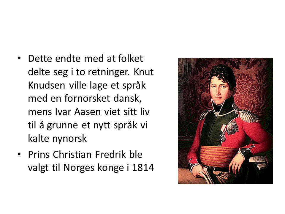 • Dette endte med at folket delte seg i to retninger. Knut Knudsen ville lage et språk med en fornorsket dansk, mens Ivar Aasen viet sitt liv til å gr