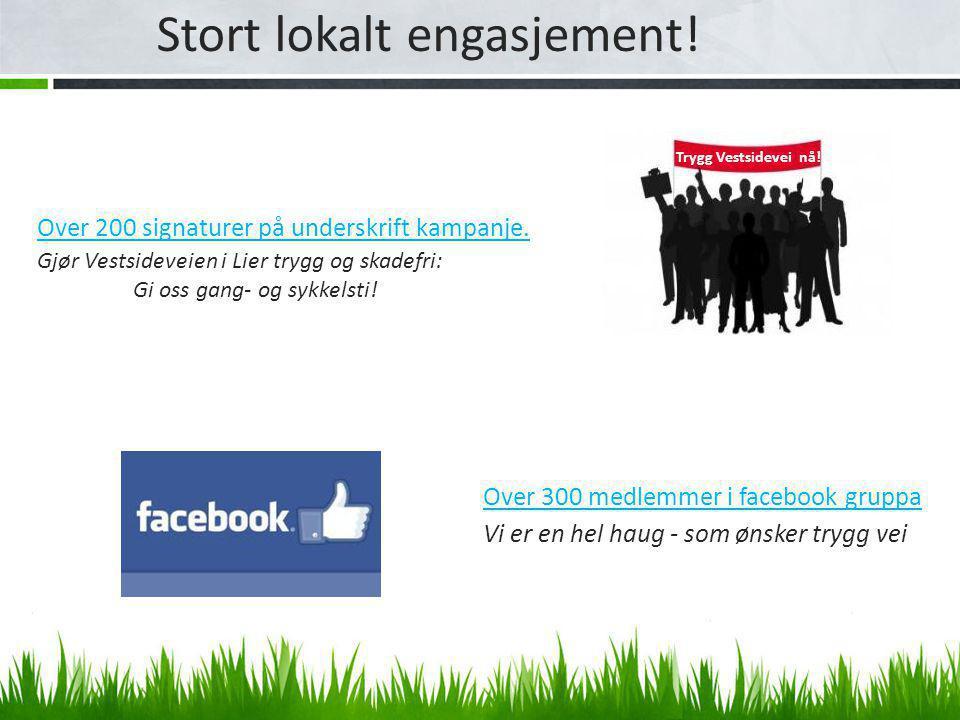 Stort lokalt engasjement.Trygg Vestsidevei nå. Over 200 signaturer på underskrift kampanje.