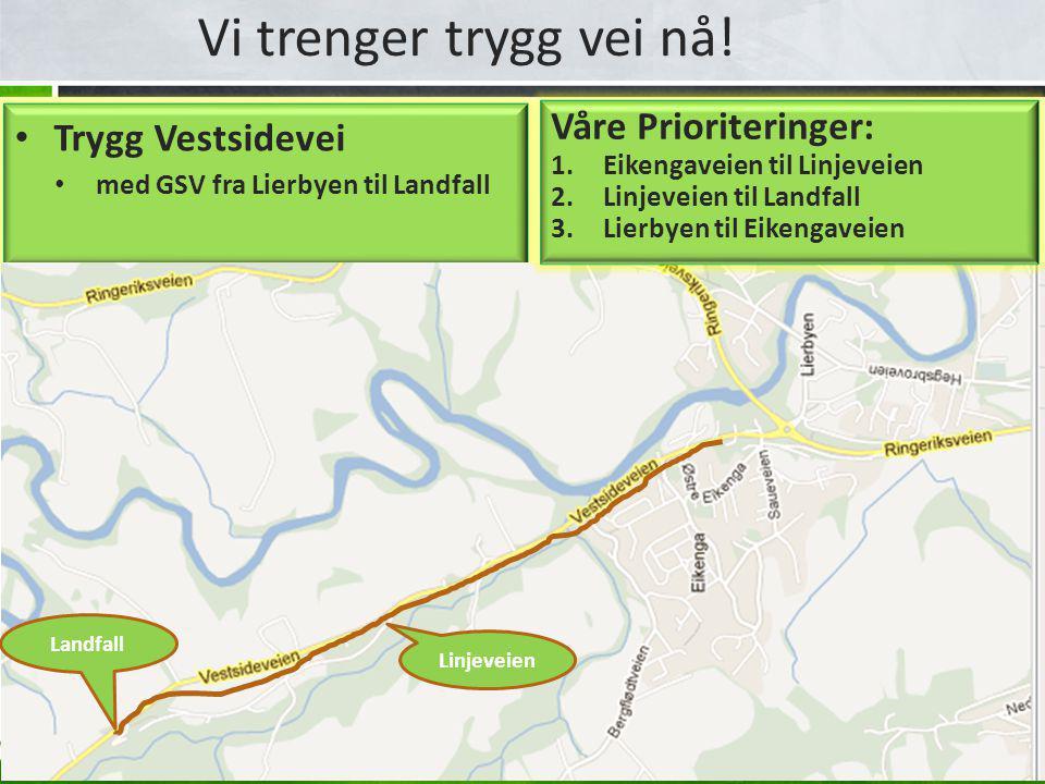 Vi trenger trygg vei nå! • Trygg Vestsidevei • med GSV fra Lierbyen til Landfall Linjeveien Landfall Våre Prioriteringer: 1.Eikengaveien til Linjeveie