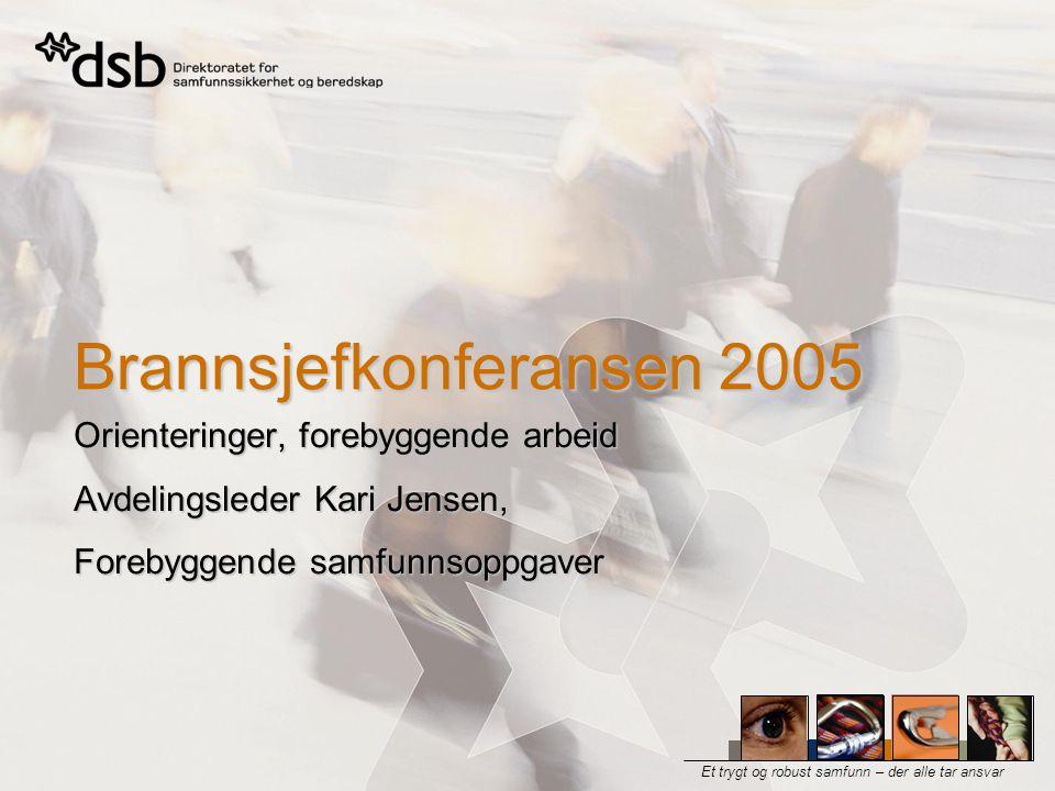 Brannsjefkonferansen 2005, Levanger - Orienteringer, forebyggende arbeid - Avdelingsleder Kari Jensen, Forebyggende samfunnsoppgaver  Forebyggende strategi  Fagseminar  Omsorgsboliger  Tunneler  Verneverdig trehusbebyggelse  Myndighetsutøvelsesprosjektet Aktuelle tema
