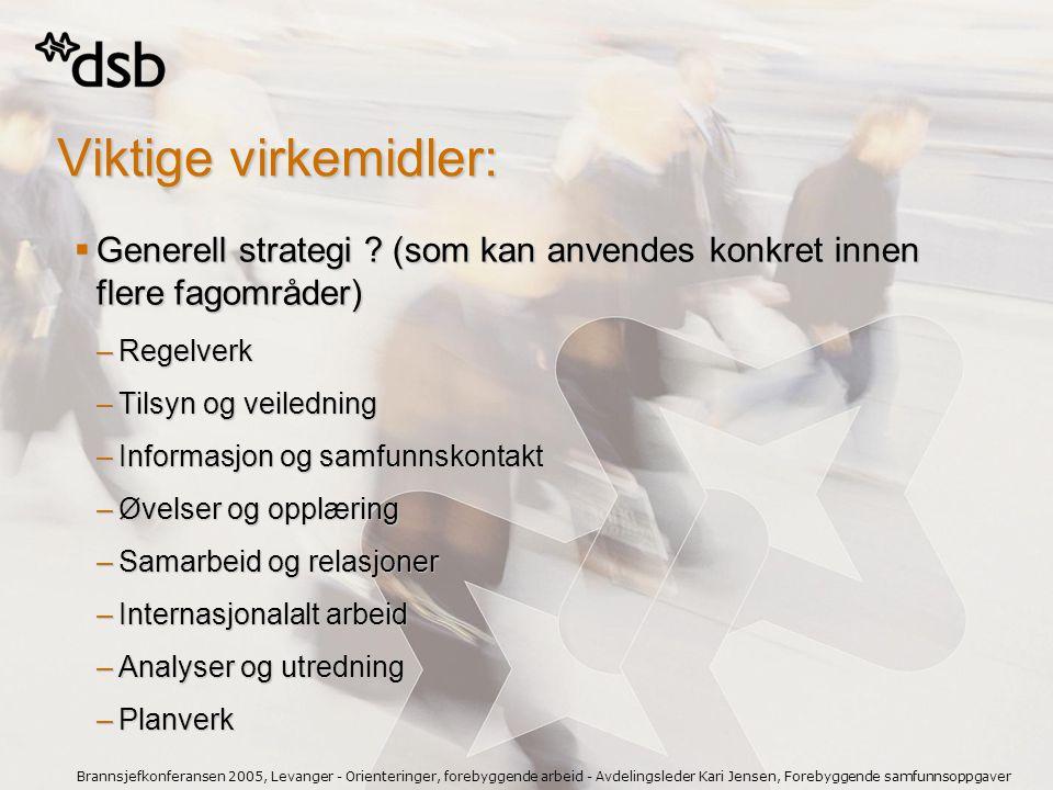 Brannsjefkonferansen 2005, Levanger - Orienteringer, forebyggende arbeid - Avdelingsleder Kari Jensen, Forebyggende samfunnsoppgaver Viktige virkemidl
