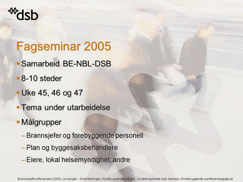 Brannsjefkonferansen 2005, Levanger - Orienteringer, forebyggende arbeid - Avdelingsleder Kari Jensen, Forebyggende samfunnsoppgaver Fagseminar 2005 