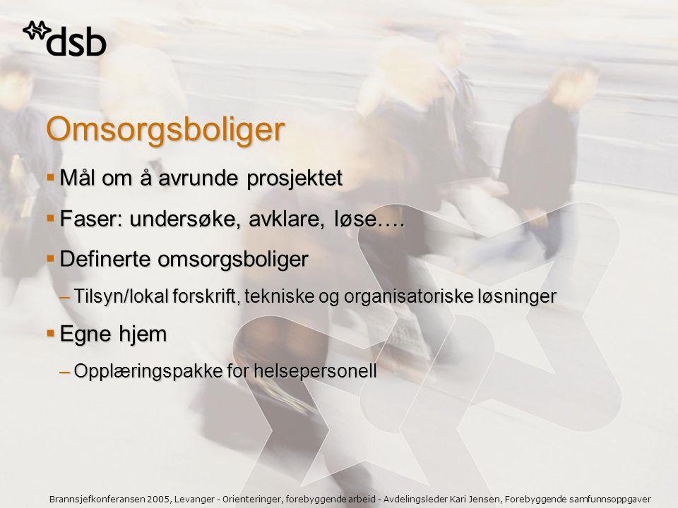 Brannsjefkonferansen 2005, Levanger - Orienteringer, forebyggende arbeid - Avdelingsleder Kari Jensen, Forebyggende samfunnsoppgaver Omsorgsboliger 