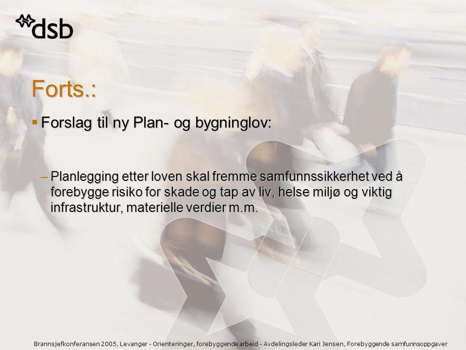 Brannsjefkonferansen 2005, Levanger - Orienteringer, forebyggende arbeid - Avdelingsleder Kari Jensen, Forebyggende samfunnsoppgaver Forts.:  Forslag