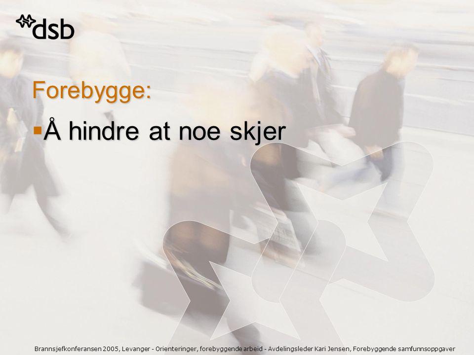 Brannsjefkonferansen 2005, Levanger - Orienteringer, forebyggende arbeid - Avdelingsleder Kari Jensen, Forebyggende samfunnsoppgaver Forebygge:  Å hi