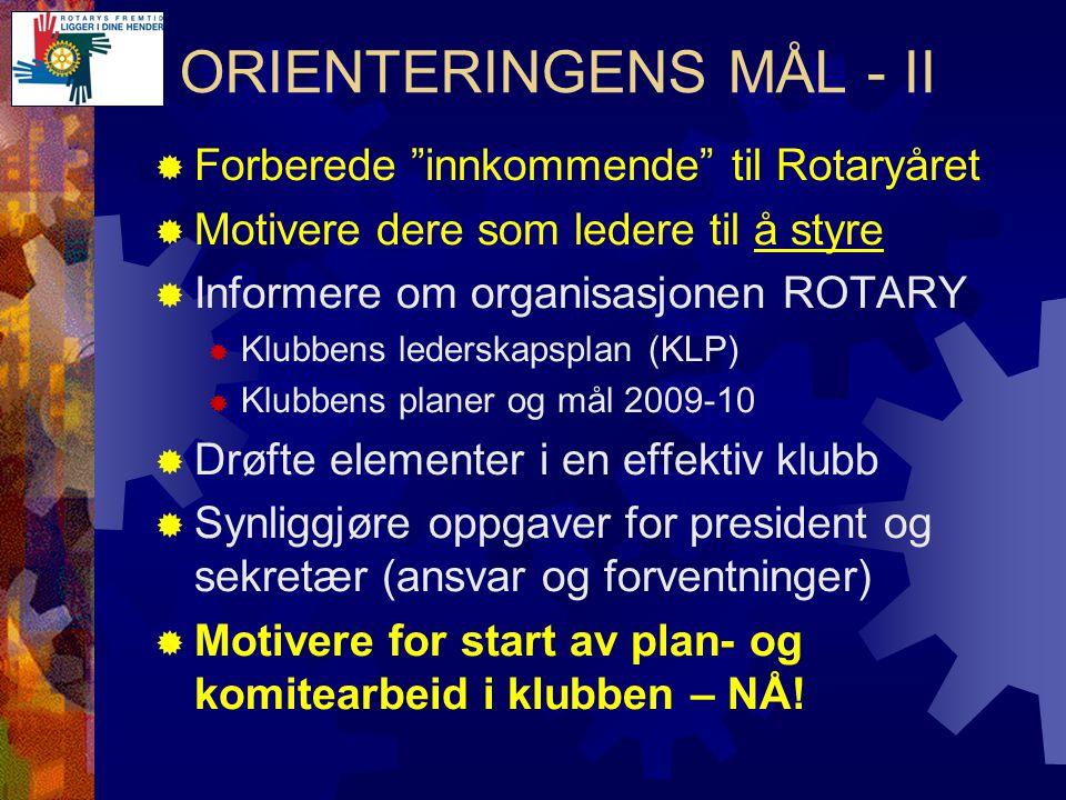 Forberedelser i innkommende styre  Gjennomgå sittende presidents planer og mål  Status - mål  Fungerte komiteene.