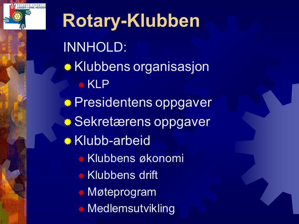 Rotary-Klubben  Vurdere klubbens mål det kommende år  Hvordan involvere nye medlemmer  Hvordan involvere inaktive medlemmer  Videreføre aktiviteter for forrige år  Koordinere mellom komiteene  Lære av suksess og feil fra i fjor Viktige tema for komiteene