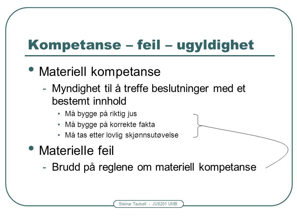 Steinar Taubøll - JUS201 UMB Kompetanse – feil – ugyldighet • Materiell kompetanse -Myndighet til å treffe beslutninger med et bestemt innhold •Må bygge på riktig jus •Må bygge på korrekte fakta •Må tas etter lovlig skjønnsutøvelse • Materielle feil -Brudd på reglene om materiell kompetanse