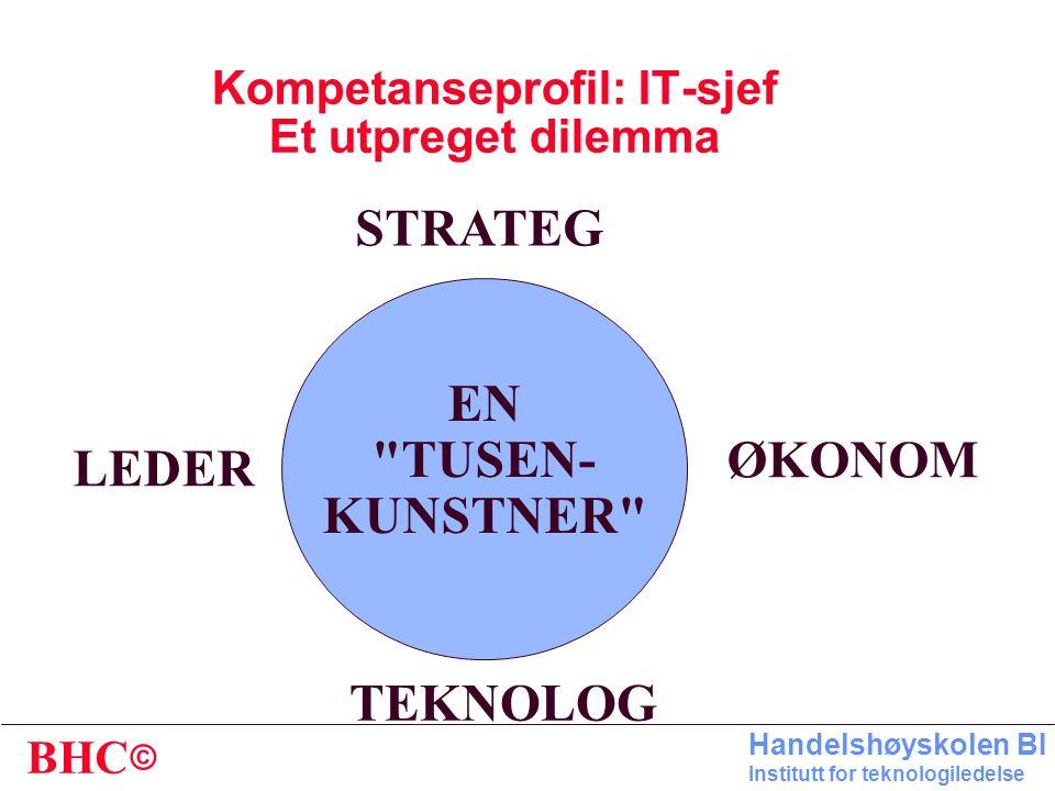 © BHC Handelshøyskolen BI Institutt for teknologiledelse IT-ORGANISERING OG FORVALTNING * IT-FUNKSJONENS STYRINGSMODELL - - Organisering - - Avregning