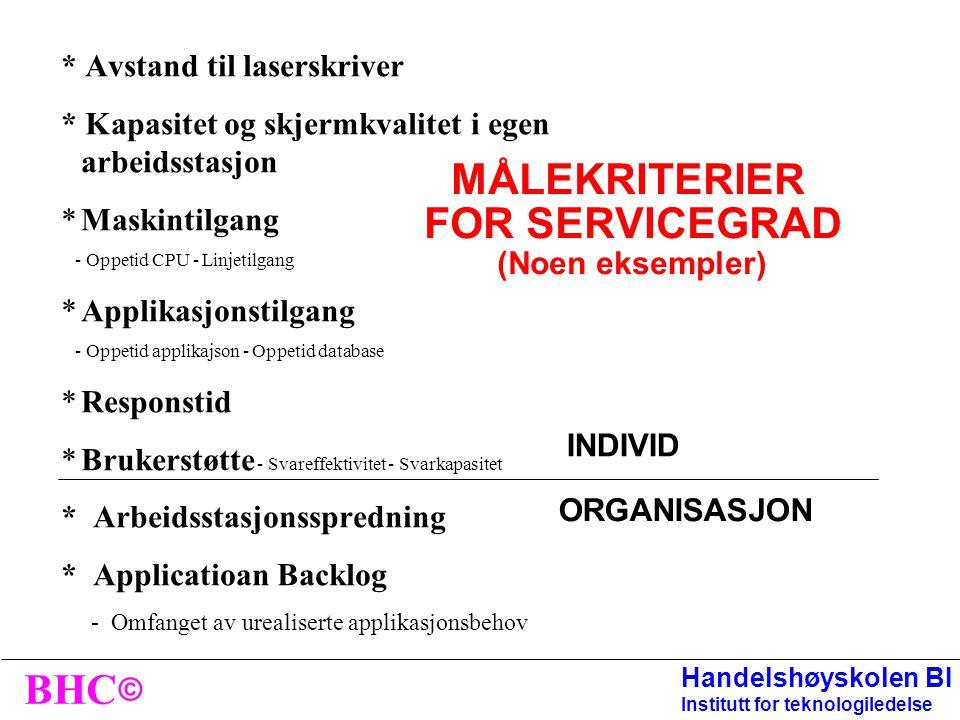 © BHC Handelshøyskolen BI Institutt for teknologiledelse Servicegrad overfor sluttbruker •Med servicegrad forstår vi tilgjengelighet til, og kvalitet
