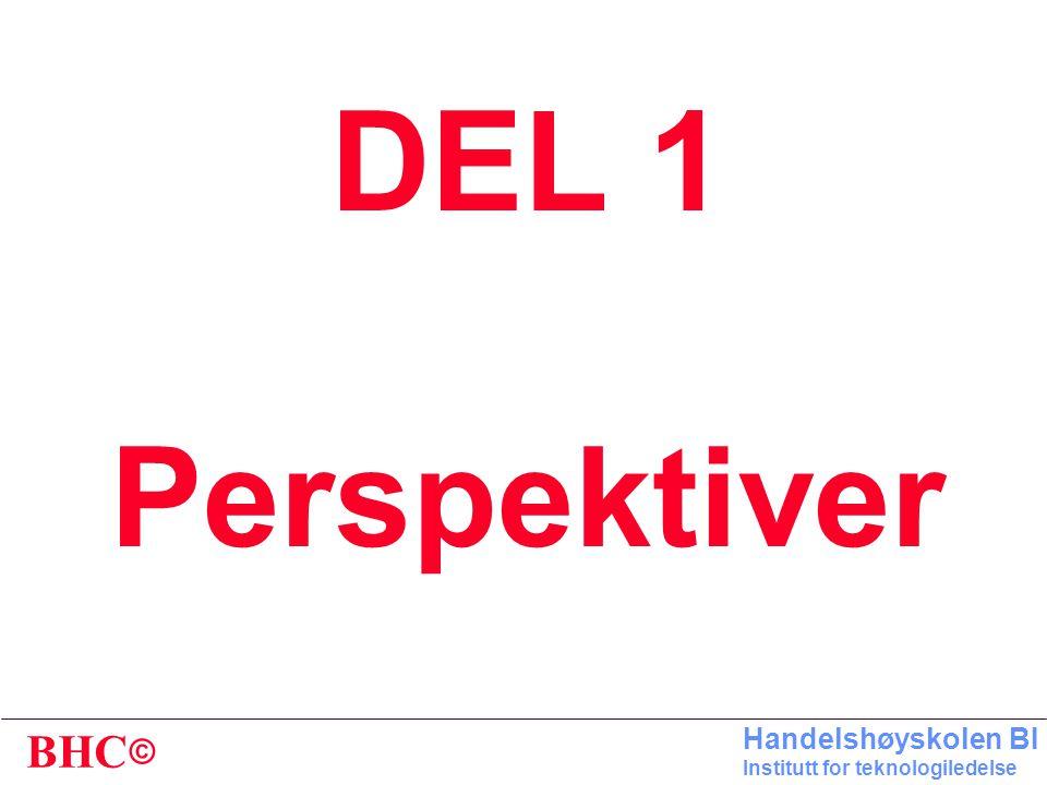 © BHC Handelshøyskolen BI Institutt for teknologiledelse DEL 1 Perspektiver