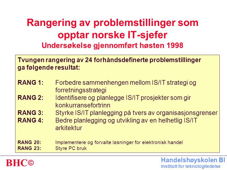 © BHC Handelshøyskolen BI Institutt for teknologiledelse Rangering av problemstillinger som opptar norske IT-sjefer Undersøkelse gjennomført høsten 1998 Tvungen rangering av 24 forhåndsdefinerte problemstillinger ga følgende resultat: RANG 1:Forbedre sammenhengen mellom IS/IT strategi og forretningsstrategi RANG 2:Identifisere og planlegge IS/IT prosjekter som gir konkurransefortrinn RANG 3:Styrke IS/IT planlegging på tvers av organisasjonsgrenser RANG 4:Bedre planlegging og utvikling av en helhetlig IS/IT arkitektur RANG 20:Implementere og forvalte løsninger for elektronisk handel RANG 23:Styre PC bruk
