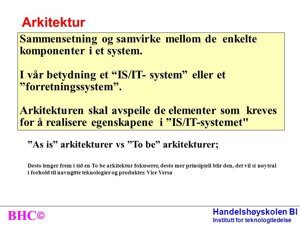 © BHC Handelshøyskolen BI Institutt for teknologiledelse Genereiske ROLLER relatert til linjen: Sjef IT-avdeling Kontorsjef Medarbeider SNA ansvarlig Kvalitetsleder Generiske ROLLER relatert til prosess: Prosesseier Prosessdeltaker Prosess A Prosess B Tjeneste A Tjeneste B SNA Prosess C Etablering av SNA