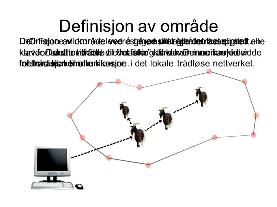 Definisjon av område nO Fence vil kunne leveres med ulike måter for oppsett.Definisjon av område ved å gå ønsket gjerdetrasse med en klave.