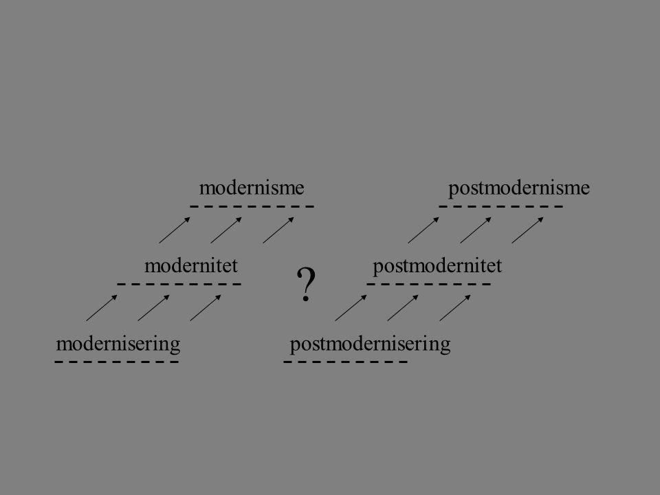 postmodernisme postmodernitet postmodernisering modernisme modernitet modernisering ?