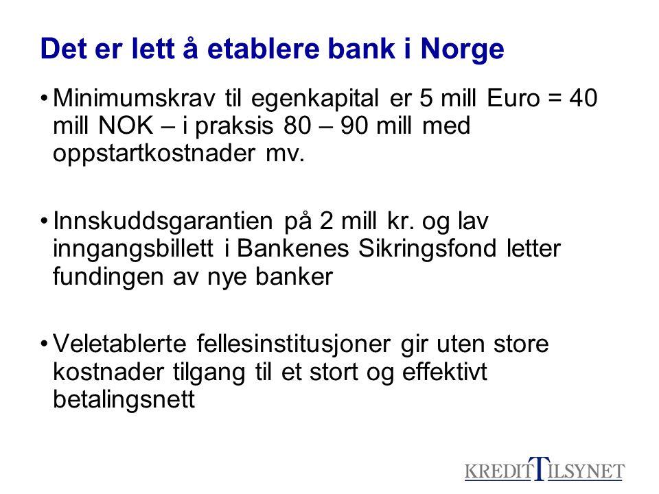Det er lett å etablere bank i Norge •Minimumskrav til egenkapital er 5 mill Euro = 40 mill NOK – i praksis 80 – 90 mill med oppstartkostnader mv.