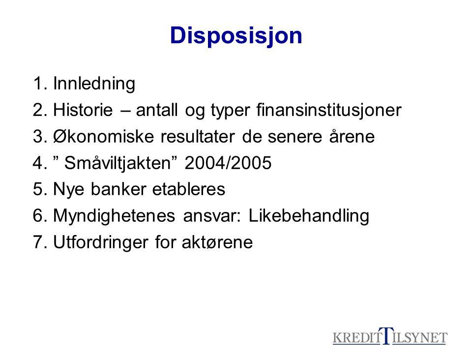 Disposisjon 1. Innledning 2. Historie – antall og typer finansinstitusjoner 3.