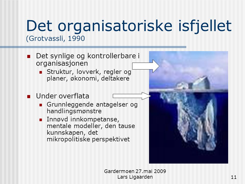 Gardermoen 27.mai 2009 Lars Ligaarden11 Det organisatoriske isfjellet (Grotvassli, 1990  Det synlige og kontrollerbare i organisasjonen  Struktur, l