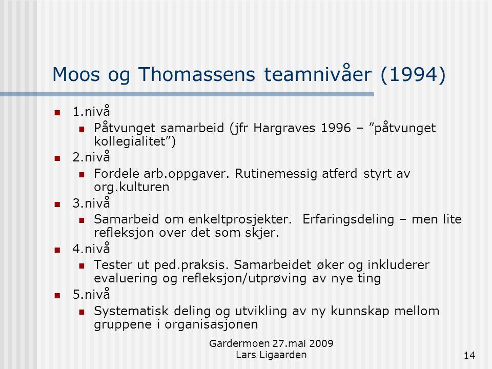 """Gardermoen 27.mai 2009 Lars Ligaarden14 Moos og Thomassens teamnivåer (1994)  1.nivå  Påtvunget samarbeid (jfr Hargraves 1996 – """"påtvunget kollegial"""