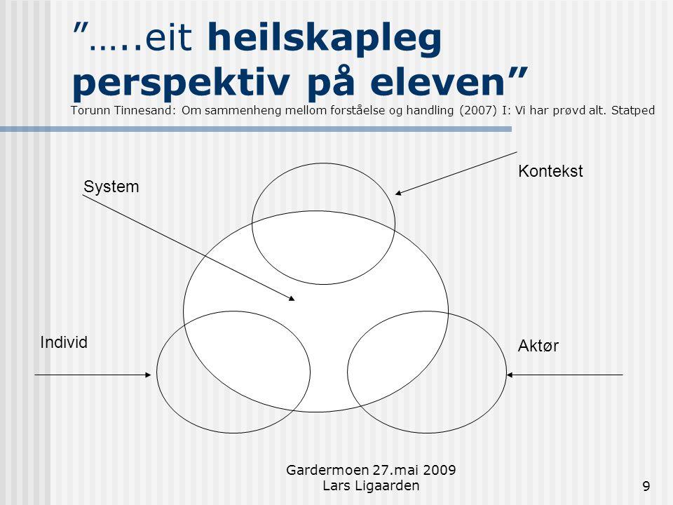 Gardermoen 27.mai 2009 Lars Ligaarden20 Læring skjer når organisasjonen:  Er opne for å systematisere og analysere erfaringene sine  Søker aktivt gjennom samhandling å finne ut kva slags utvikling som er viktig  Faktisk endrar åtferda i organisasjonen, både praktiske/organisatoriske og mentale modellar Knut Roald (2006): s 150