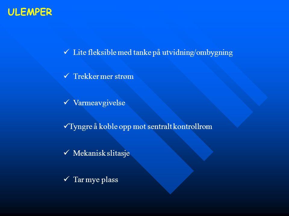 ULEMPER  Lite fleksible med tanke på utvidning/ombygning  Trekker mer strøm  Varmeavgivelse  Tyngre å koble opp mot sentralt kontrollrom  Mekanis