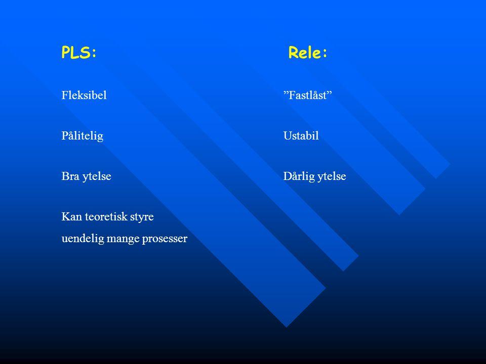 """PLS: Kan teoretisk styre uendelig mange prosesser Rele: Fleksibel """"Fastlåst"""" Pålitelig Ustabil Bra ytelse Dårlig ytelse"""