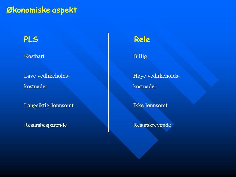 Økonomiske aspekt PLSRele Lave vedlikeholds- Høye vedlikeholds- kostnader Resursbesparende Resurskrevende Kostbart Billig Langsiktig lønnsomt Ikke løn