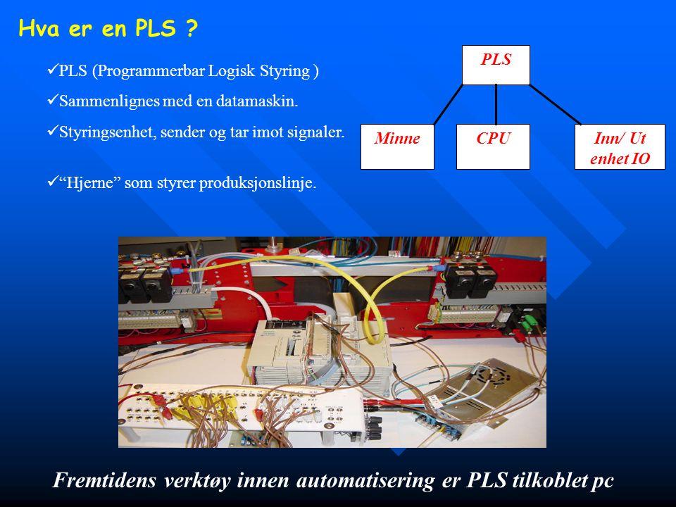 Hva er en PLS ? Fremtidens verktøy innen automatisering er PLS tilkoblet pc  PLS (Programmerbar Logisk Styring )  Sammenlignes med en datamaskin. 