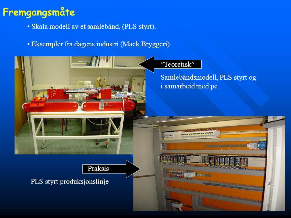 """• Skala modell av et samlebånd, (PLS styrt). • Eksempler fra dagens industri (Mack Bryggeri) """"Teoretisk"""" Samlebåndsmodell, PLS styrt og i samarbeid me"""
