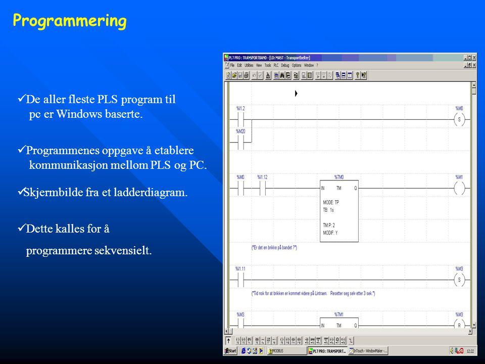 Programmering  Programmenes oppgave å etablere kommunikasjon mellom PLS og PC.  Skjermbilde fra et ladderdiagram.  De aller fleste PLS program til