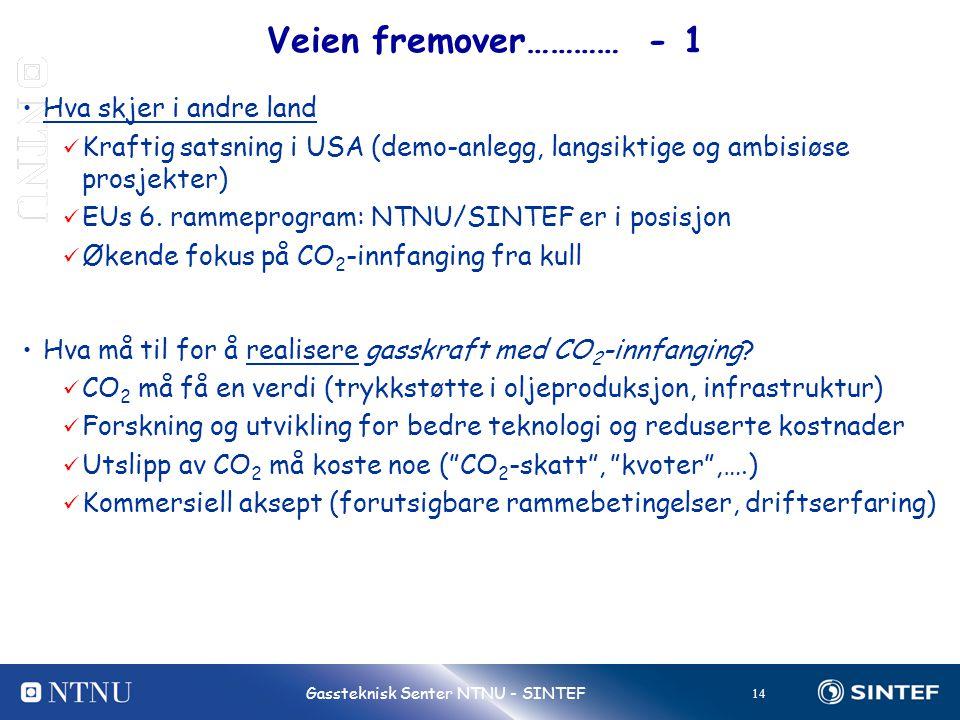 14 Gassteknisk Senter NTNU - SINTEF Veien fremover………… - 1 •Hva skjer i andre land  Kraftig satsning i USA (demo-anlegg, langsiktige og ambisiøse pro