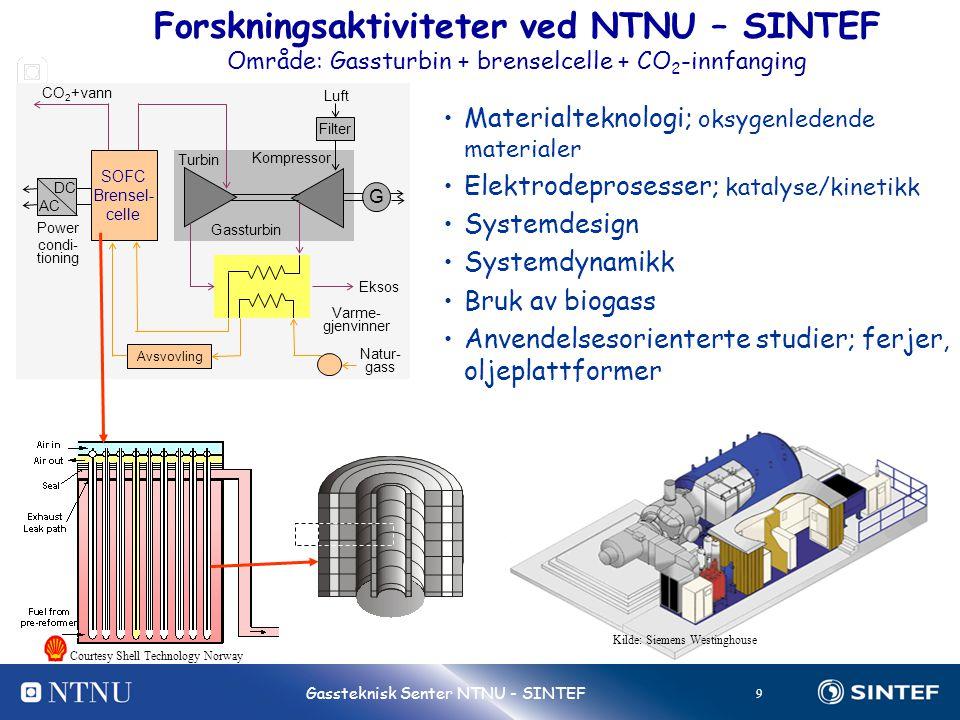 9 Gassteknisk Senter NTNU - SINTEF •Materialteknologi; oksygenledende materialer •Elektrodeprosesser; katalyse/kinetikk •Systemdesign •Systemdynamikk
