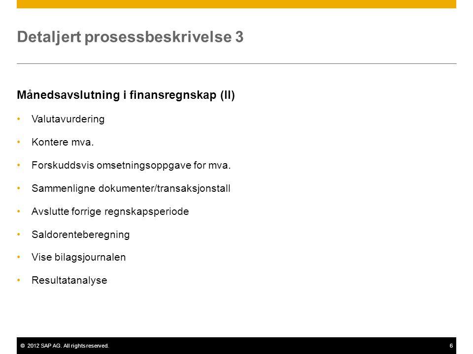 ©2012 SAP AG. All rights reserved.6 Detaljert prosessbeskrivelse 3 Månedsavslutning i finansregnskap (II) •Valutavurdering •Kontere mva. •Forskuddsvis